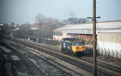 VALIANT EFFORT (Malvern Firebrand) Tags: english electric class 50 no 50015 valiant heads out worcester shrub hill le light engine for gloucester circa march 1982 metal box which was connected main rail worcestershire loco locomotive diesel class50 sunny factory train railway railroad outdoors sidings track uk gb england britain wsh