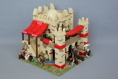 Age of Empires II: Ethiopian Stables (-LittleJohn) Tags: lego creation moc build model display aoe ii aoeii age empires water trough window design arch camel ostrich wall texturing banner awning stairs dome pillars