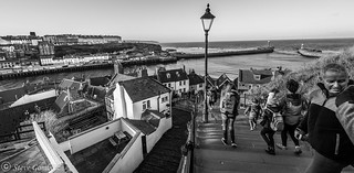 Walking the 199 steps at Whitby.