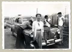 """1941 Buick Coupe (Vintage Cars & People) Tags: vintage us usa america vintageusa classic black white """"blackwhite"""" sw photo foto photography automobile car cars motor vehicle antique auto buick 1941buick coupe repair engine breakdown panne lady woman girl 1950s fifties jeans cardigan purse tshirt youth"""