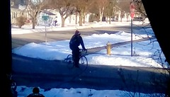 Cold cyclist! 365/51 (Maenette1) Tags: winter cold cyclist neighborhood menominee uppermichigan flicker365 michiganfavorites project365