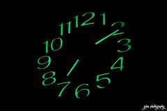 Radium Hours (smzoha) Tags: flickrfriday outofthebox clock hands green dark shadows black darkness radium hours minutes neon 7dwf
