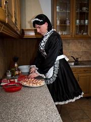 New Year's Eve cooking (blackietv) Tags: maid dress gown black white satin petticoat lace apron tgirl transvestite crossdresser crossdressing transgender kitchen