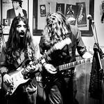 Italian hard rock musicians in the tiny music bar Alfonso's in Munich, Germany thumbnail