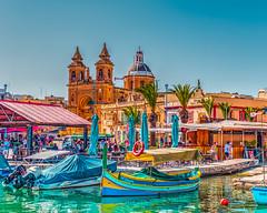 Colorful Malta (Daveyal_photostream) Tags: d600 nikon nikor water waterscape church malta hdr hdrphotography hdredit hdrphoto hdrphotoraph hdrphotomatrix meandmygear mygearandme mycamerabag motion movement mediterranean boat building sky city people oldschoolhdr