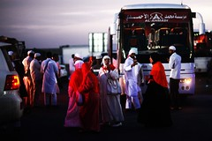 OOOOH !! AL-AHMADI !!!! (N A Y E E M) Tags: pilgrims women candid moroccan indian bus mosque desert midway albiar ksa saudiarabia availablelight colors dusk