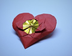 IOIO 2017 - Flower in a Heart 2 (Tankoda) Tags: origami art paper heart flower ioio 2017 andrey lukyanov travis nolan red yellow orange gold blue white geometric sky