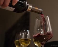 Precious red (frankdorgathen) Tags: wine red white bottle glass bokeh focus stilllife indoor christmas dinner