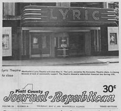 Lyric Theater Monticello IL Closes Pg 1 Story May 31, 1979 (RLWisegarver) Tags: piatt county history monticello illinois usa il