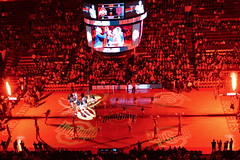 kelsey mitchell introduction (brown_theo) Tags: schottenstein center osu womens bball basketball columbus ohio state buckeyes value city arena campus cheerleaders fans brutus court scoreboard video board fireworks pyrotechnics pyro introductions starters game