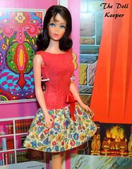 Happy Birthday to My Birthday Buddy Eddi! (The doll keeper) Tags: 1967 vintage mod tnt dark brunette marloflip barbie doll dress best bow red on the go 1970