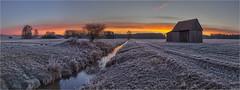 Morgenstund (Robbi Metz) Tags: deutschland germany bayern bavaria reischenau augsburgwestlichewälder kleineroth landscape barn creek water sunrise frost sky clouds colors canoneos
