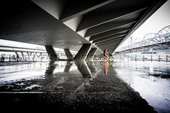 Singapore (tomabenz) Tags: human geometry architecture sony a7rm2 urban asia bridge yellow puddlegram reflection singapore zeiss streetview bike rain street photography red humaningeometry sonya7rm2 streetphotography