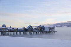 (amy20079) Tags: newengland maine oldorchardbeach oldorchardbeachpier pier nikond5100 seasmoke ocean sea sunrise winter snow frostsmoke steamfog beach shore