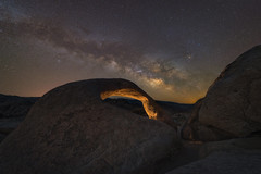 Mobius Arch Milky Way (Mike Ver Sprill - Milky Way Mike) Tags: mobius arch milky way galaxy mike ver sprill michael versprill travel nightscape nikon d800 california alabama hills twilight blend composite lit led lighting cosmos universe stars strry starry night sky dark skies beautiful tracker ioptron stack tutorials learn photography best photographer astrophotography astronomy