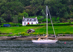 Scotland West Highlands Argyll an old cottage and a yacht near Port Driseach 21 June 2017 by Anne MacKay (Anne MacKay images of interest & wonder) Tags: scotland west highlands argyll old cottage sea coast yacht port driseach landscape xs1 21 june 2017 picture by anne mackay