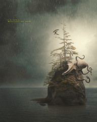 The mighty octopus (olgavareli) Tags: olga vareli octopus magic realism island eagles rainy cloud sky surreal