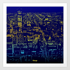 Chicago city lights at night Art Print (Hebstreits) Tags: abstract art background black cute decorative design doodle doodles funny graffiti graphic holiday illustration knitting paint paper pattern seamless snow snowboard snowboarding sport street sweater vector wall white winter wrapping