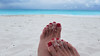 Rekha, Paradise (IPMT) Tags: toenail sexy toes polish foot feet pedicure painted zoya toenails pedi barefoot red crimson rekha blood rojo vermelho sand beach arena playa descalza