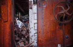 my cup runneth over (jtr27) Tags: dsc09686l jtr27 sony alpha alpha7 a7 ilce7 ilce mirrorless canon fd fdn nfd 50mm f14 manualfocus maine junkyard railroad railway wabisabi rust corrosion oxidation trolley