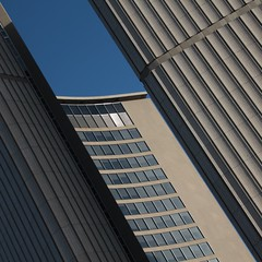 Toronto City Hall (No Great Hurry) Tags: iconic icon viljorevell windows lookingup detail closeup urbanabstract abstract shade shadow geometric diagonal linesandcurves bluesky circular round buildings building architectural shuttering concrete constructuralart canadianarchitecture canada torontocityhall toronto square c20 midcentury modernist robinmauricebarr nogreathurry curvedfacade curves