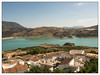 View over Zahara and the lake. Andalusia. Spain. (moniquevantorenburg) Tags: landscape zahara andalusia spain lake village whitevillage roofs daken wittedorpen stuwmeer olympusomdem5markii olympus124028pro m43 microfourthirds mirrorless view