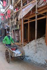 Litter collector (posterboy2007) Tags: nepal worker street litter wheelbarrow nepali bhaktapur