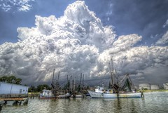 The St Peter Paul  on the Edge of a Storm - Pensacola Florida (John E Adams) Tags: st peter pensacola bay water joepatti florida thunderstorms clouds pier moored steel shed shrimpboats storm southernstyle south