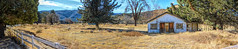 Ranch House (joe Lach) Tags: ranchhouse farmhouse whitefence trees rocks yellow vegetation green blue house home ranch joelach panoramic panorama
