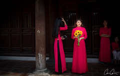Highlighted (Zoom In, Click On, Check Out) Tags: vietnam people girl protrait beautiful lady flowers graduation hanoi temple red dress woman young