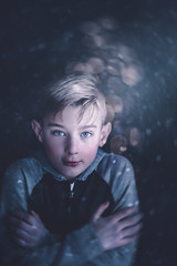 (Rebecca812) Tags: boy child bokeh snowing cold night dark lowkey christmaslights shivering tween blondhair blueeyes artistic creativeportraits canon people rebeccanelson rebecca812