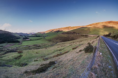Somewhere on the A44 from Aberystwyth (joanjbberry) Tags: aberystwyth a44 samyang 8mm fisheye wales landscape mountains hills
