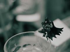 Batman on the rim of a glass... (Long Sleeper) Tags: model modelfigure batman superhero glass bw monochrome tokyo japan dmcgx1