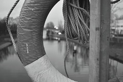 There Just Wasn't Enough Time... (Robin Shepperson) Tags: nikon d3400 berlin germany water safety ring moabit canal life save monochrome lights time evening city street black white bokeh urban