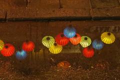 Vietnam (pictopix) Tags: asie canong5x hoian vietnam reflets reflection lampe lampion water eau pluie nuit night caniveau couleurs rouge jaune vert bleu
