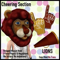 [LJ] Cheering Section - Lions (Tala Laval) Tags: second life mesh cheerleading mascot foam finger megaphone gryffindor hufflepuff slytherin ravenclaw cheesy fun sports game