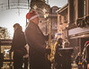 Festive Performer. (Ian Emerson) Tags: busker saxophone performer music christmas 50mm canon outdoor street