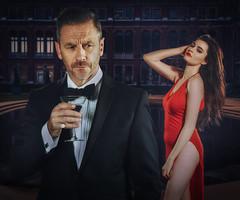 The Name's Bond (jonron239) Tags: man woman jamesbond bondgirl suit bowtie cufflinks cocktail glass pose slitskirt longdress longhair brunette courtyard va victoriaandalbertmuseum dayfornight