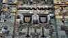 Heraldry and heads - Westgate, High Street, Winchester, Hampshire, England (edk7) Tags: olympuspenliteepl5 edk7 2016 uk england hampshire hants winchester architecture building oldstructure sculpture stonecarving westgate medievalfortifiedgateway anglosaxonthrough14thc gradeilisted westgatemuseum stonework gargoyle arrowslit flintflushwork flint coatofarms escutcheon shield