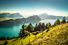 Summer landscape (Toukensmash) Tags: lake mountain landscape swiss switzerland summer bright daylight sunny sunlight shining hdr sony alpha58 high mountains glacier lakes adventure journey hiking hike outdoor pilatus way boat fence meadow blue day rigi
