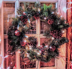 Windows Trimed (clarkcg photography) Tags: window windowpane wood dividers wreath lights festive holidays pinecone evergreen windowwednesday
