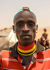 Dassanech Warrior (Rod Waddington) Tags: africa african afrique afrika äthiopien ethiopia ethiopian ethnic etiopia ethnicity ethiopie etiopian omo omovalley outdoor omoriver kenya dassanech tribe traditional tribal culture cultural warrior beads village portrait people