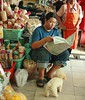incense vendor at the market (the foreign photographer - ฝรั่งถ่) Tags: man newspaper poodle dog incense vendor yingchararoen market sitting sapan mai bangkhen bangkok thailand canon