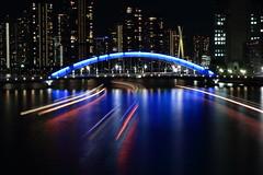 Night View of Sumida River (Tokyo) (seiji2012) Tags: 隅田川 永代橋 夜景 東京 tokyo 屋形船 boat ウオーターフロント 築地 eitaibridge light reflection