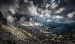 The majestic Dolomites (Croosterpix) Tags: landscape nature mountains alps dolomites mountainscape rocks clouds sky drama sony a7r nikkor1835