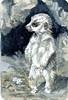 Meerkat Pup-DV Paynes Gray, Raw Umber Natural, Qor Raw Umber Natural on Hahnemühle Watercolor Postcard (molossus, who says Life Imitates Doodles) Tags: meerkat pup watercolor postcard hahnemühle artforthelunchbag