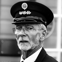 Tickets Please (Neil. Moralee) Tags: neilmoraleenikond7200 neilmoralee man face portrait old mature beard glasses cap uniform hat west somerset railway trai ticket collector inspector enthusiast minehead dunster taunton bishos lydeard rail steam wsr track black white bw bandw blackandwhite mono monochrome neil moralee nikon d7200 historic stogumber crowcombe watchet fitzwarren norton station spotting spotter