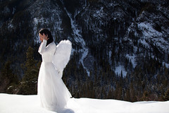hope (OneLifeOnEarth) Tags: onelifeonearth montana forest angel white snow light selfportrait inspiredperfectedsheeran gallatinnationalforest trees art ds create js wings fly girl