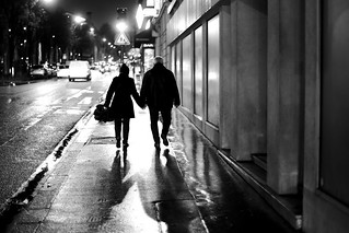 A couple at night