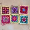 Group photo of the first six Roseanne Reboot granny squares (crochetbug13) Tags: crochetbug crochetsquares grannysquares crochetblanket crochetafghan crochetthrow roseanne roseannereboot roseannesofablanket crocheted crocheting scrapyarn yarnstash